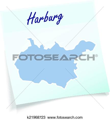 Clipart of Map of Harburg as sticky note k21968723.