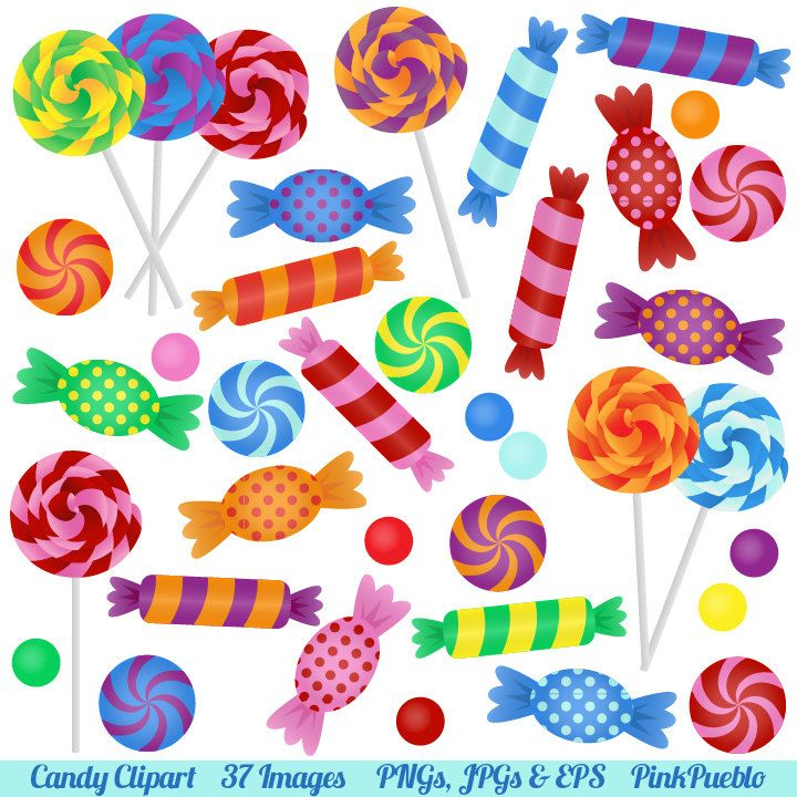 Candy Clipart Clip Art with Lollipops, Peppermints, Hard.