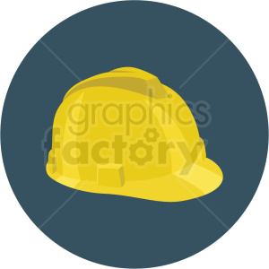 construction hard hat vector flat icon clipart with circle background .  Royalty.