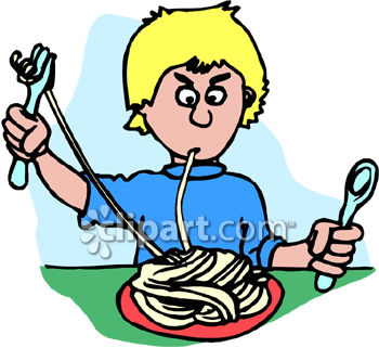 A Boy Having a Hard Time Eating Spaghetti Pasta.