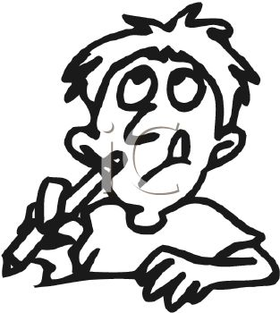 Royalty Free Clipart Image: Boy having a hard time writing with.