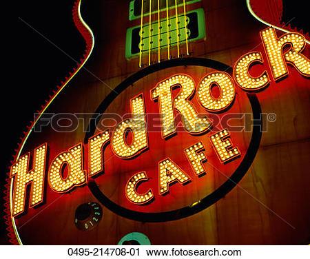 Stock Photography of Nevada, Las Vegas, Hard Rock Cafe Sign, Night.