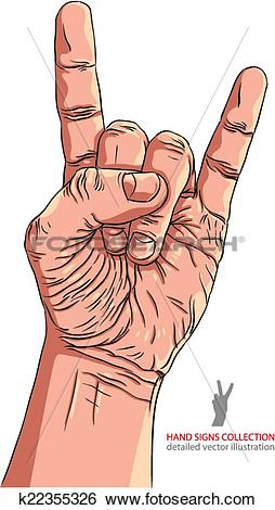 Clip Art of Rock on hand sign, rock n roll, hard rock, heavy metal.