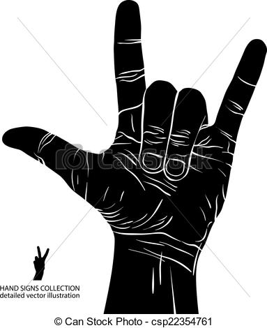Clip Art Vector of Rock on hand sign, rock n roll, hard rock.