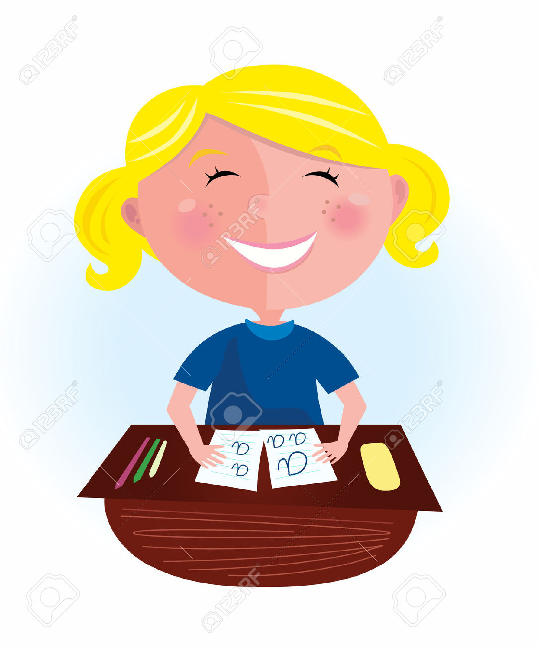 Back To School: Happy Blond Hair Girl In Classroom. Small Pupil.