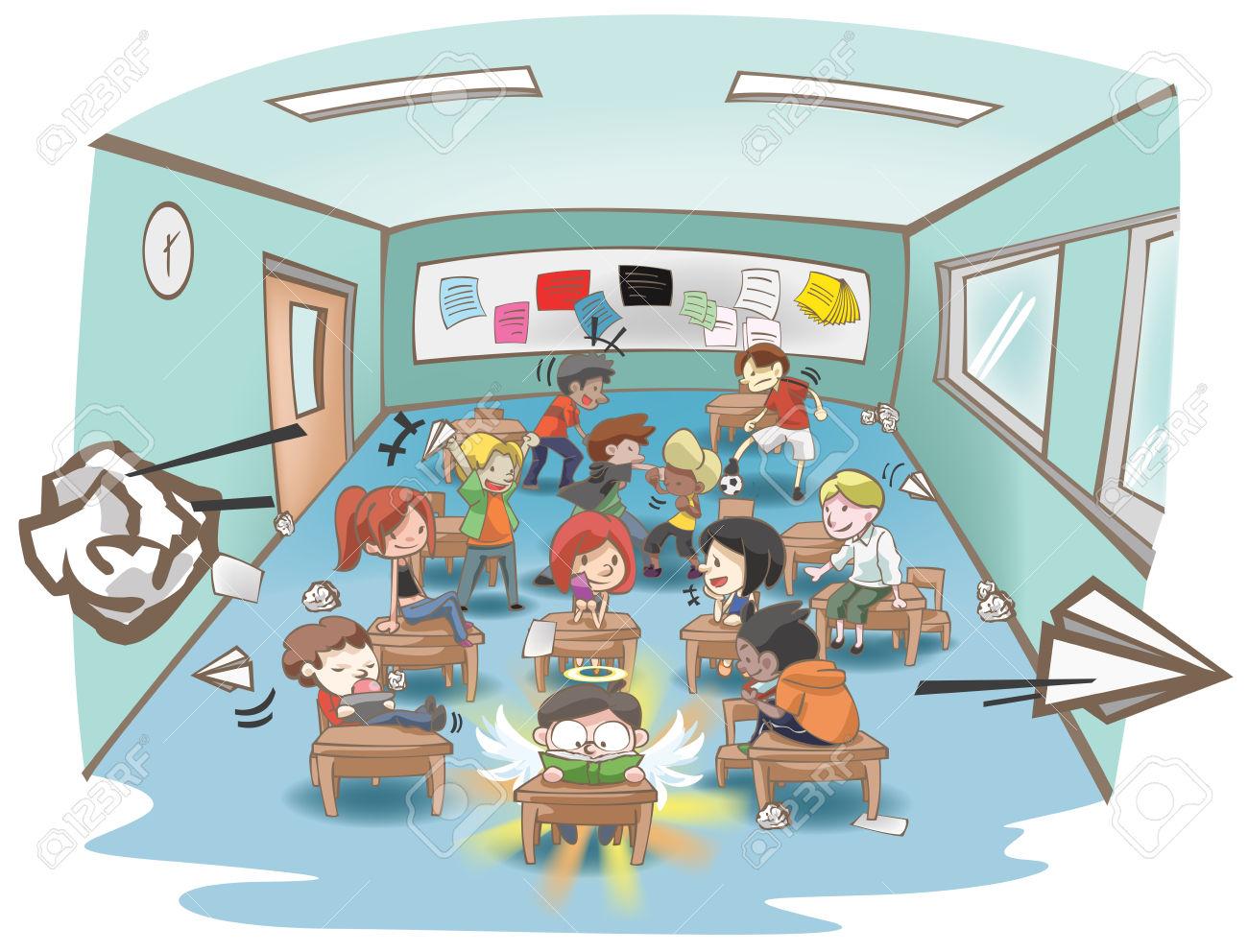 Cartoon Illustration Of A Messy School Classroom Full Of Naughty.