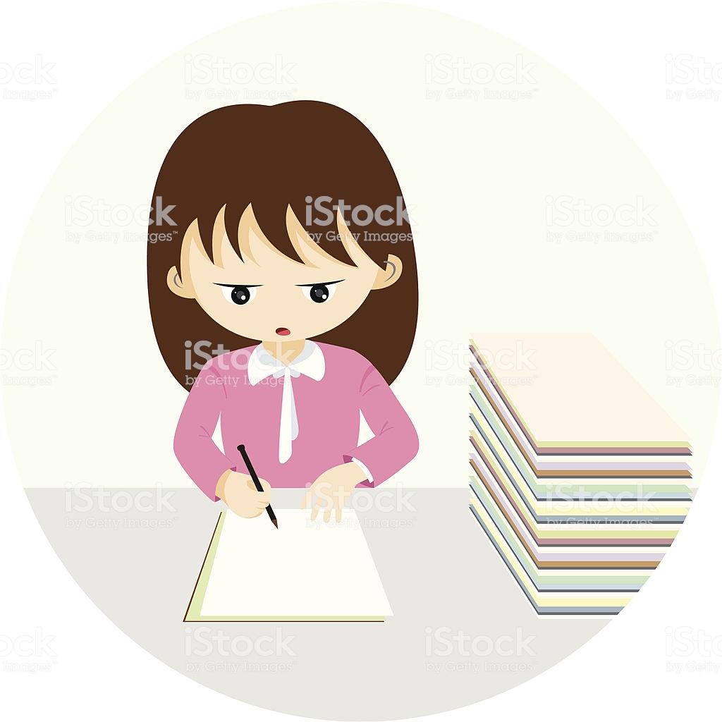 Office Hardworking Girl Stock Illustration.