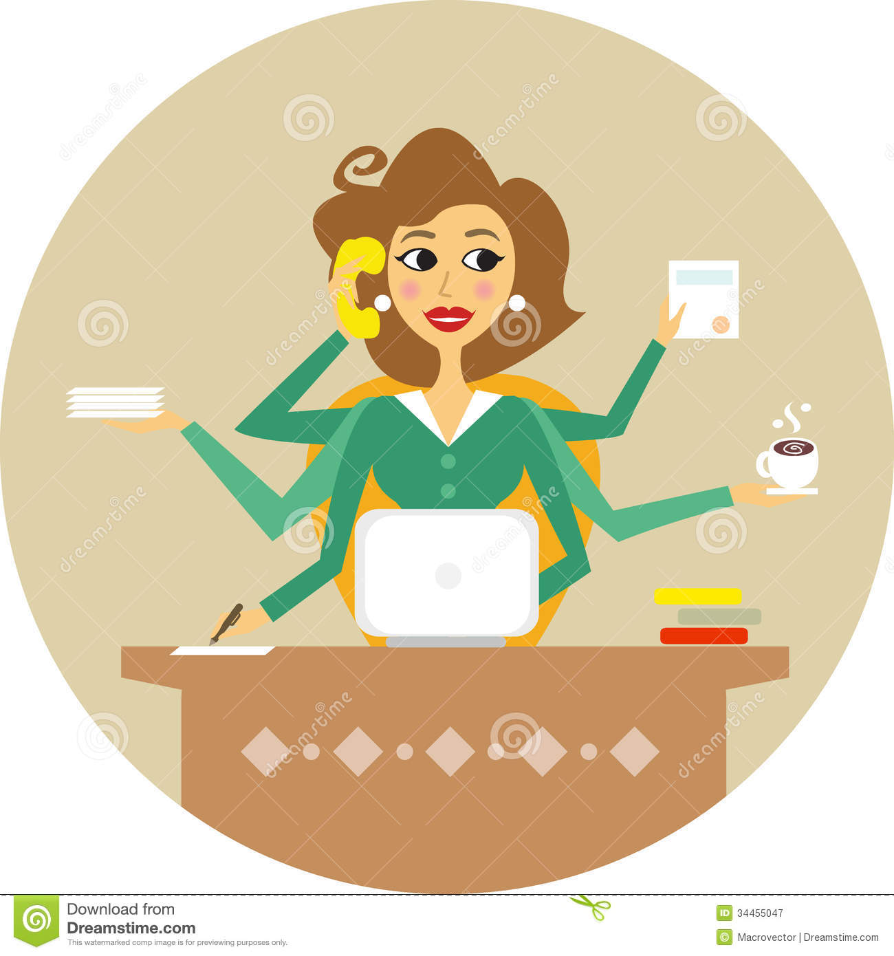 Secretary Personal Assistant Hard Working Symbol Stock Illustrations.