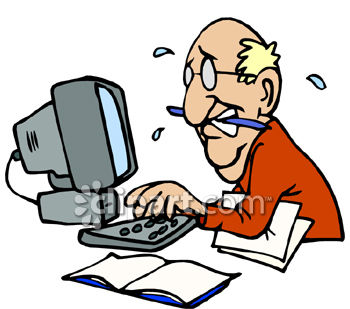 Hard Working Computer Clipart.