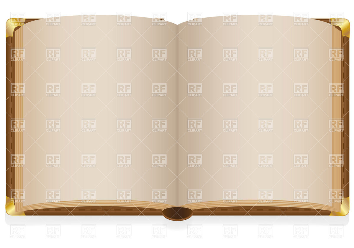 Old hardback open book with blank sheets and metal corners Vector.