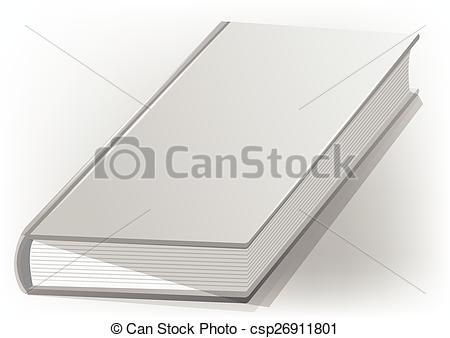 Vector Clipart of hardback book white on a white background.