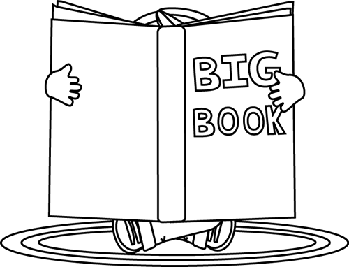 reading book clipart black and white #8