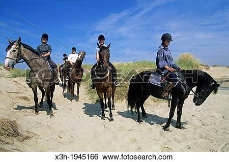 Stock Images of riding in the sand dunes, Hardelot, Pas.