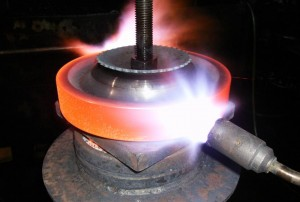 Flame Hardening Crane Wheels and Heat Treating Other Hoist.