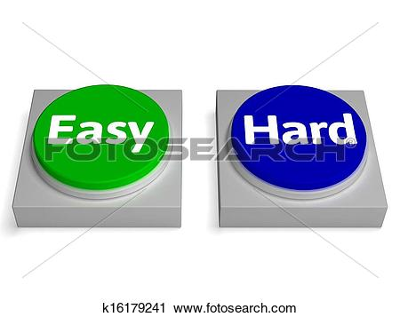 Clipart of Easy Hard Buttons Shows Easiest Or Hardest k16179241.