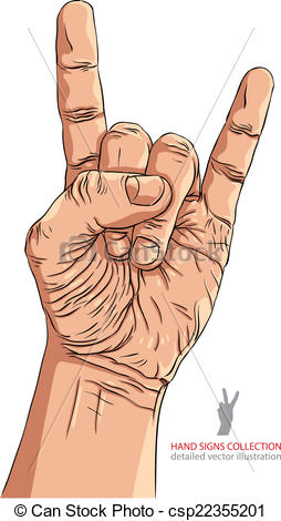 Vector Clipart of Rock on hand sign, rock n roll, hard rock, heavy.