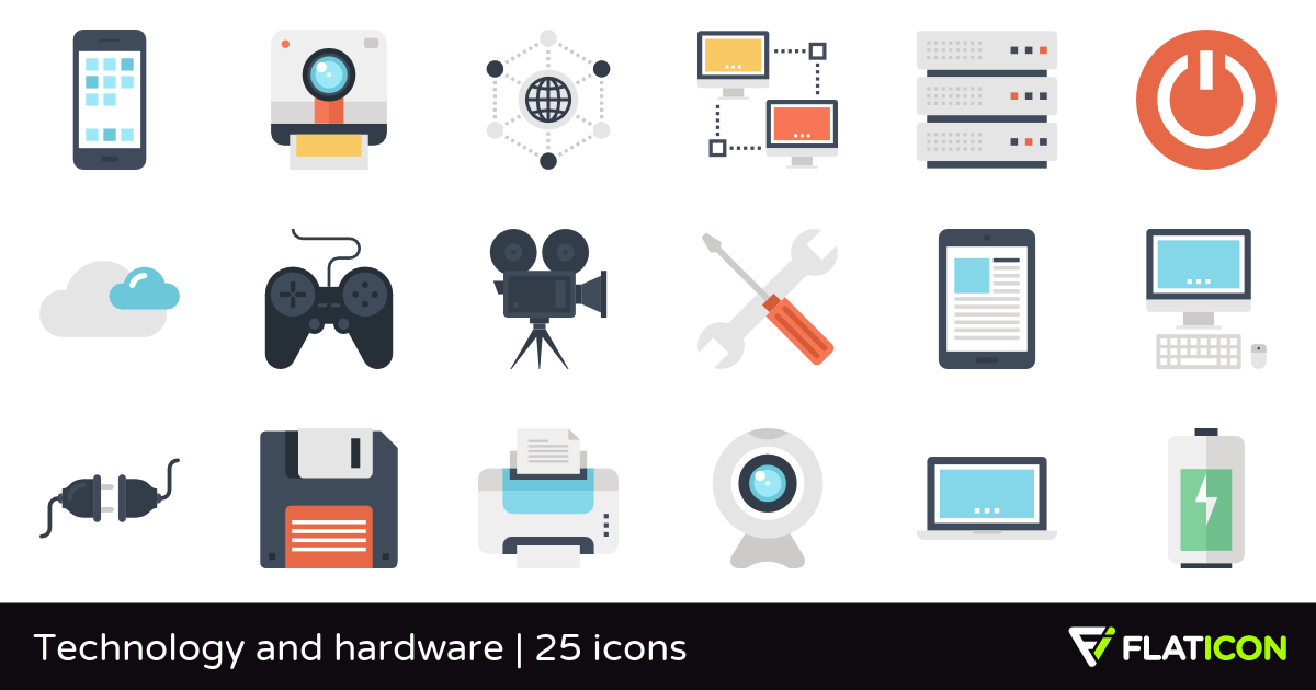 Technology and hardware 25 premium icons (SVG, EPS, PSD, PNG files).