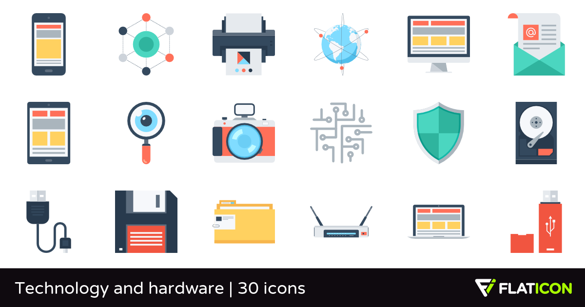 Technology and hardware 30 premium icons (SVG, EPS, PSD, PNG files).