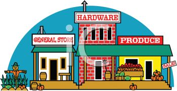 Cartoon of a General Store, Produce Market and Hardware Store.
