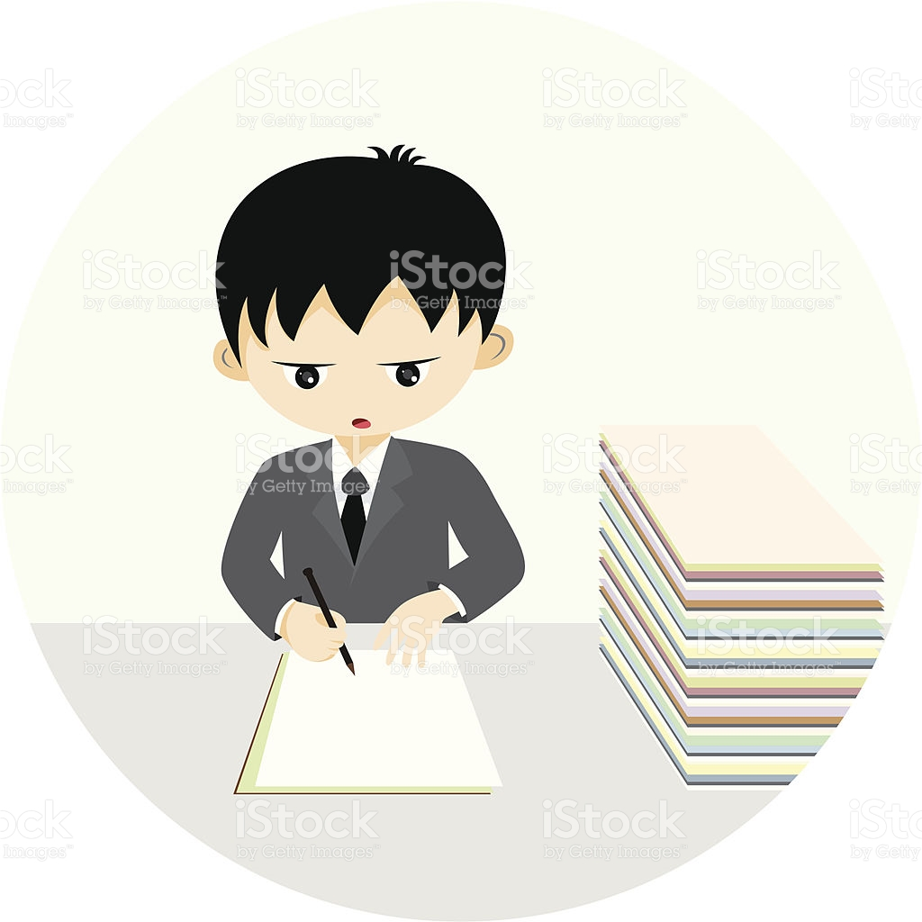 Office Hardworking Boy stock vector art 164529706.