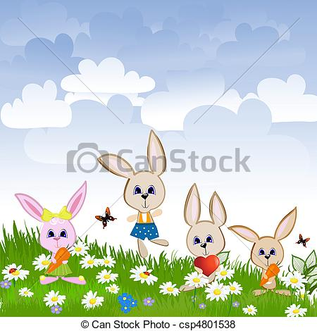 Vector of Hares on the lawn csp4801538.
