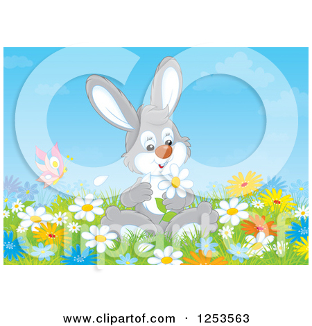Clipart of a Rabbit Picking Flowers in a Meadow.