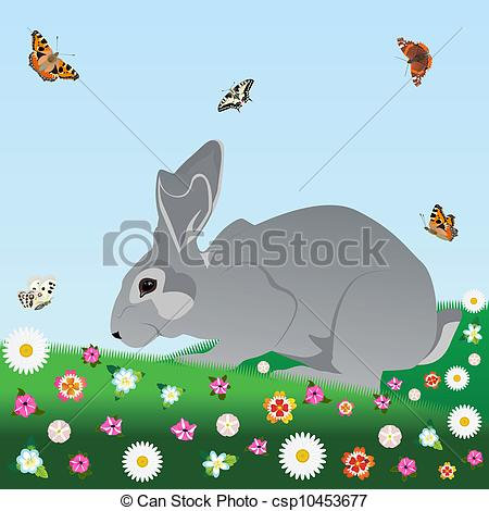 Vectors Illustration of Hare on the nature of field and meadow.