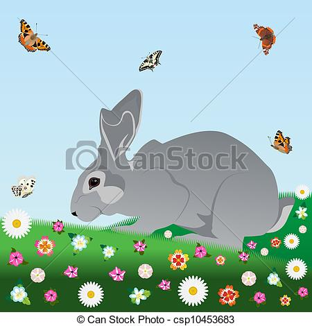 Stock Illustration of Hare on the nature of field and meadow.