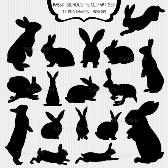 Rabbit Silhouette Clip Art Set.