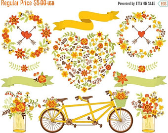 Fall wedding clipart.
