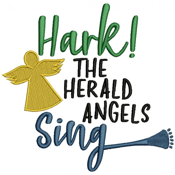 Hark The Herald Angels Sing Filled Machine Embroidery Design Digitized  Pattern.