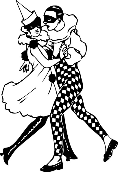 Harlequin Dancers clip art Free vector in Open office drawing svg.