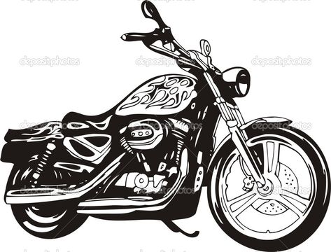 Harley davidson clipart black and white in 2019.