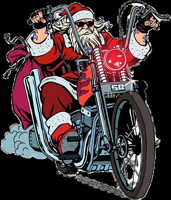 Santa Claus Harley Davidson Clipart.