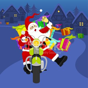 Santa riding a Harley Davidson Clipart Image.