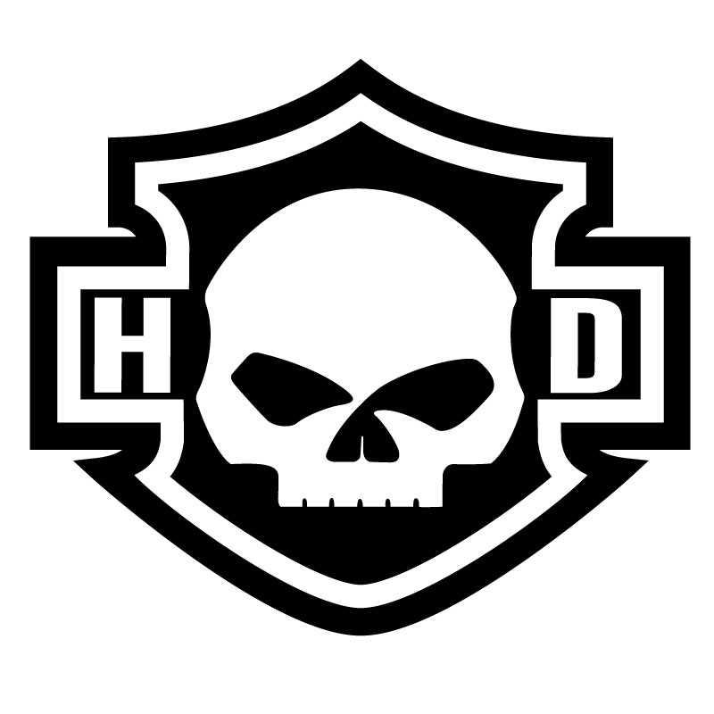 Harley Davidson Logo Silhouette Skull Decal HD.