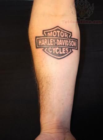 Harley Davidson Logo Tattoo On Right Arm For Men.