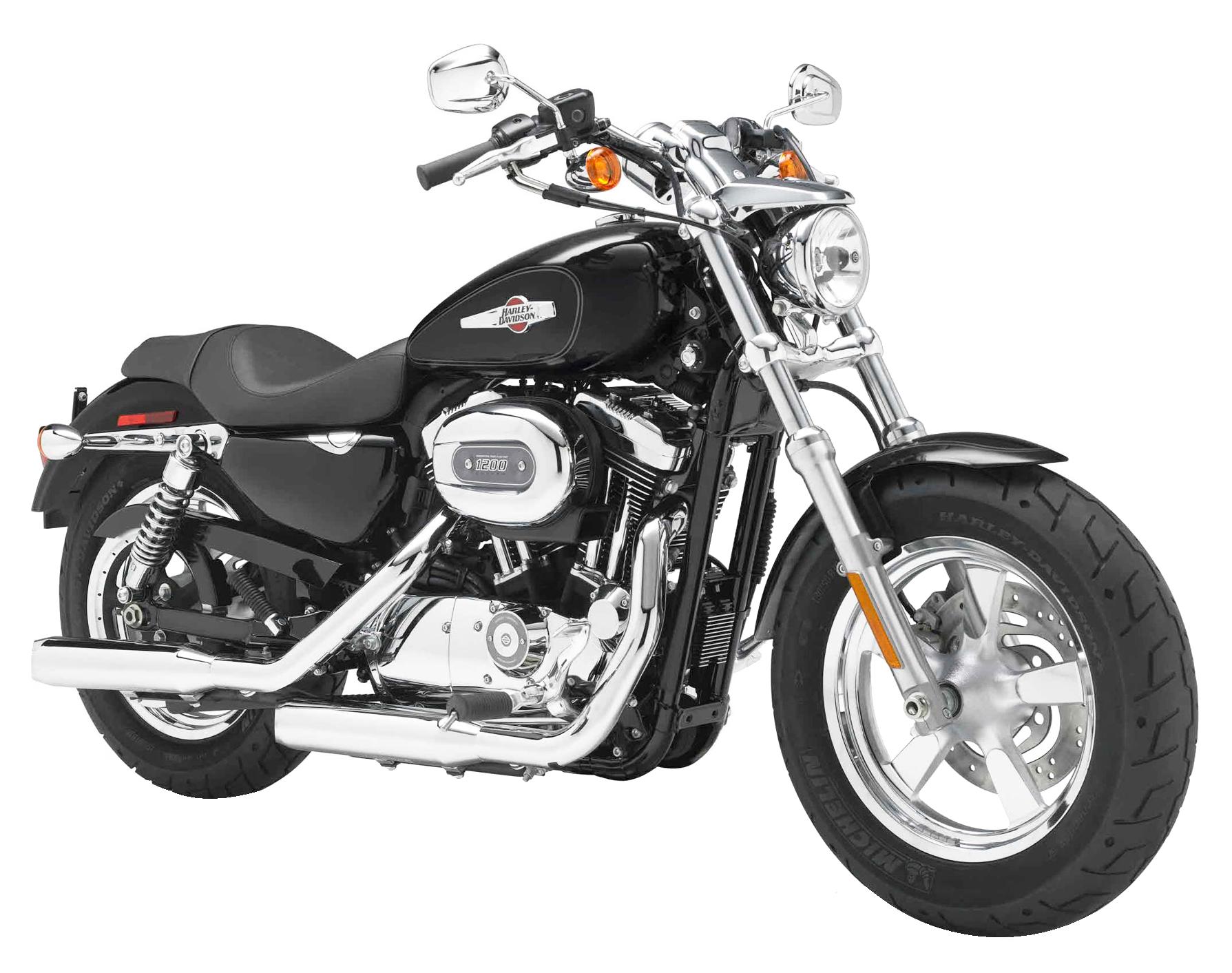 Harley Davidson Sportster 1200 Custom Motorcycle Bike PNG Image.