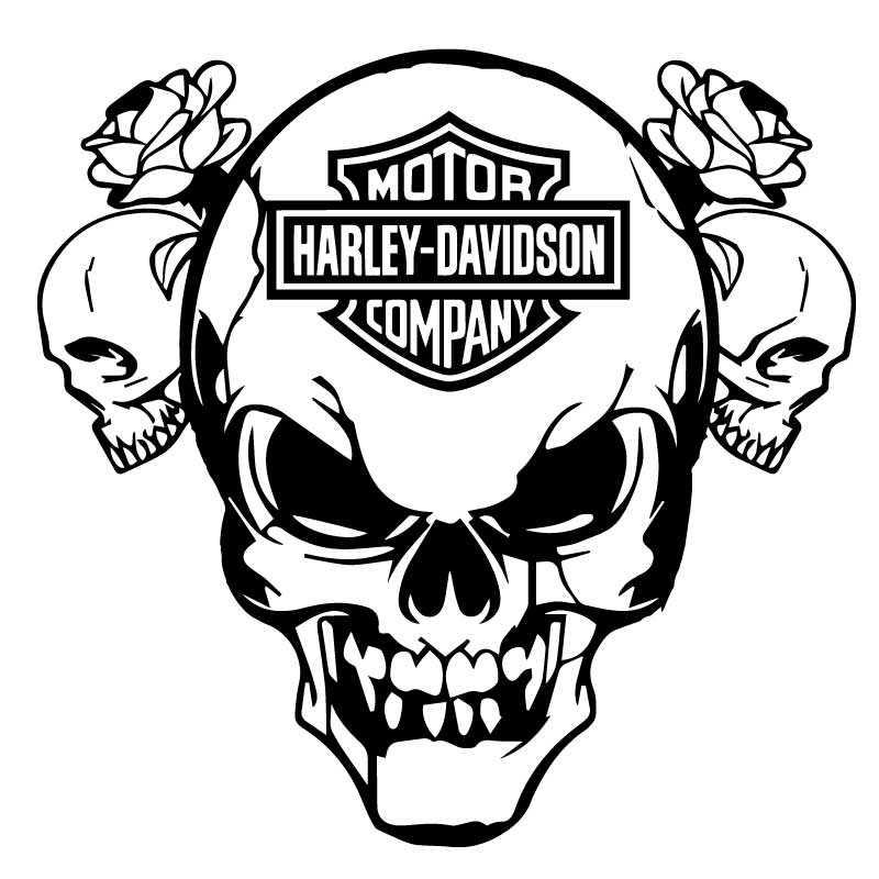 Aufkleber Sticker Harley Davidson Logo Skull Roses.