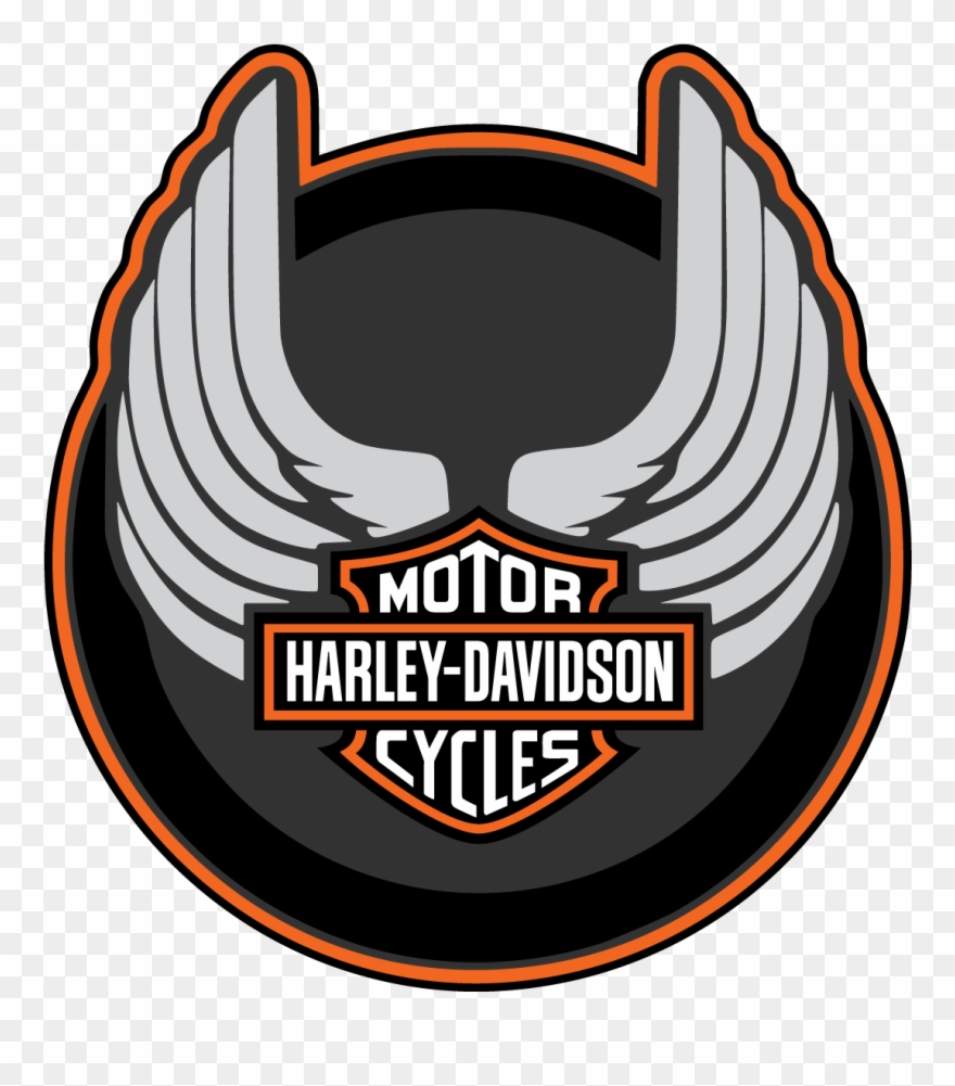 Harley Davidson Wings Round Logo Vector Decal Free.