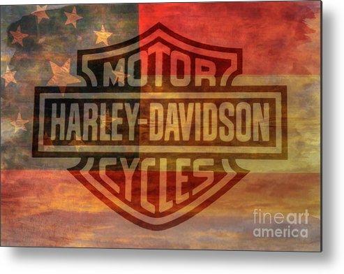 Harley Davidson Logo Old Confederate Flag Metal Print.
