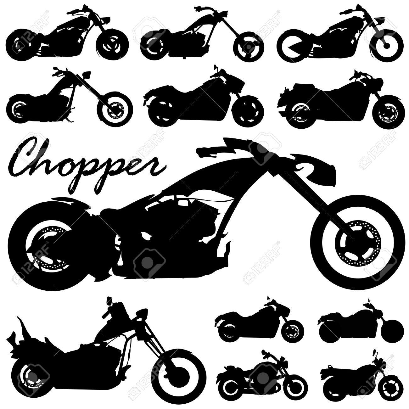 Chopper Motorcycle Vector Royalty Free Cliparts, Vectors, And.