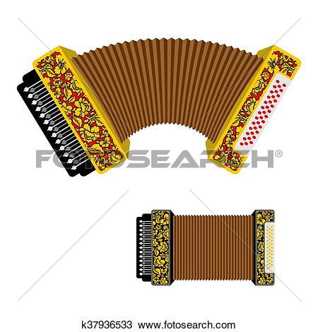 Clipart of Russian accordion musical instrument. harmonic National.