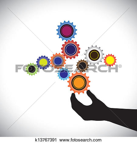 Clipart of Abstract colorful cogwheels graphic controlled by hand.