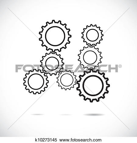 Clipart of Abstract cogwheels in black and white showing.