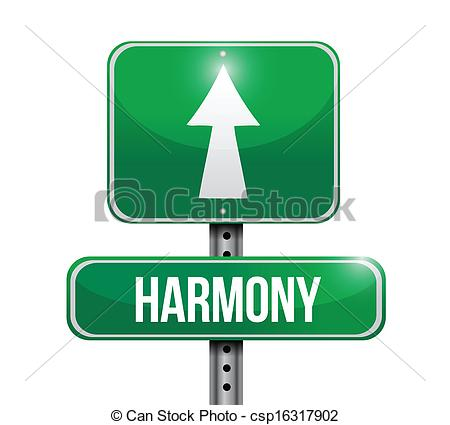 Vector Clipart of harmony road sign illustrations design over a.