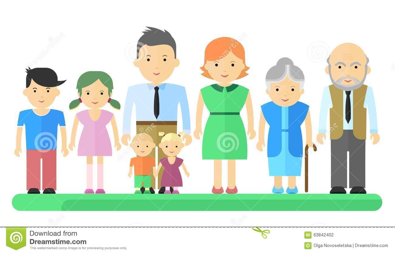 Big Family Woman And Girl Stock Vector.