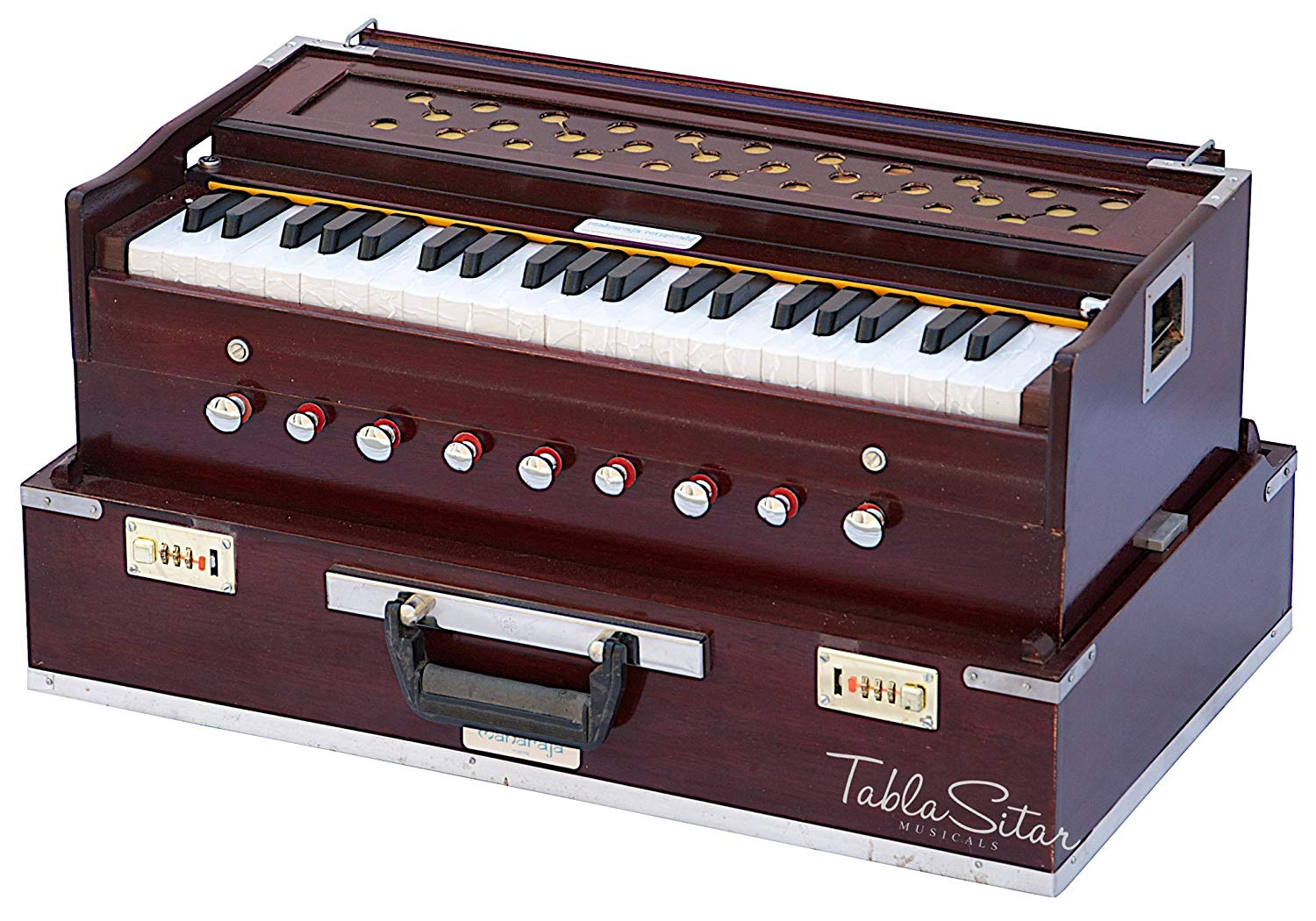 Maharaja Musicals, Folding Harmonium Instrument, In USA, 9 Stops, Rosewood  Color, Safri, 3 1/2 Octave, Coupler, Book, Bag, Tuned To A440, Musical.