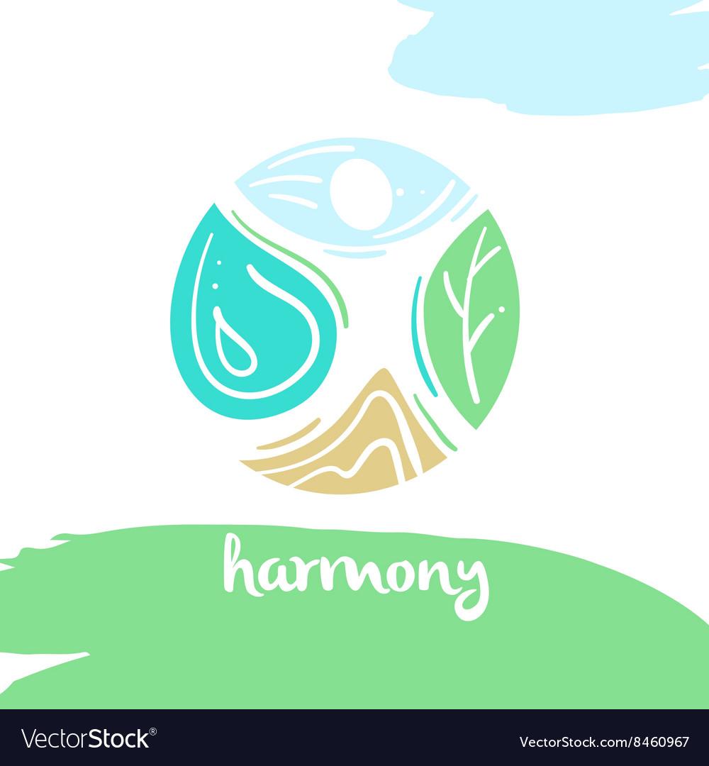 Logo harmony four nature element high mountain.