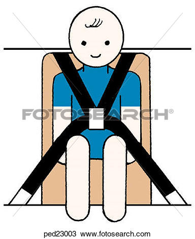 Drawing of Image showing child in car seat with seat belt harness.